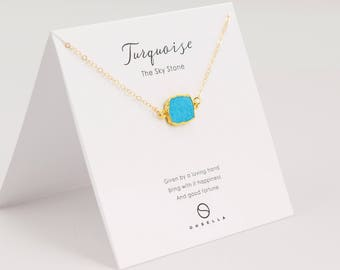 Turquoise Slice Necklace, Bezel Set Turquoise Necklace in Gold, Gold Pendent Necklace, Gold Turquoise Necklace(0003-1N)