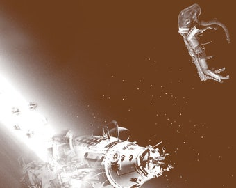 Poster Laika the Space Dog and Her Shuttle 11x14 Digital Sepia Print