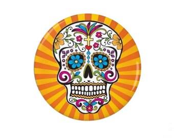 Day of The Dead Badge/Magnet - Skull - Mexico - Celebration - Sugar Skull