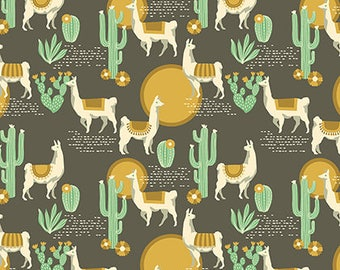 Lingering Llamas Tucso Cactus Llama Alpaca Geometric Cotton Fabric from the Florabelle Collection by Joel Dewberry for Free Spirit Fabrics