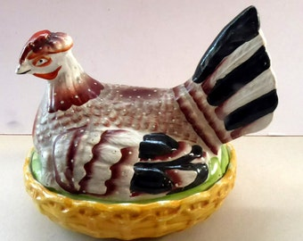 Beautiful Antique Staffordshire Hen on Nest / Hen on Basket Lidded Dish. 7 1/4 inches in length