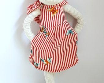 Miss Polar Bear, stuffed animal, ooak soft toy, softies, child friendly bear, stripes, cool nursery kids room decor gift toy