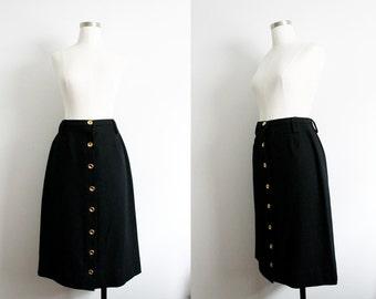 "1970s ""Prestige"" Black Wool & Gold Button Skirt"