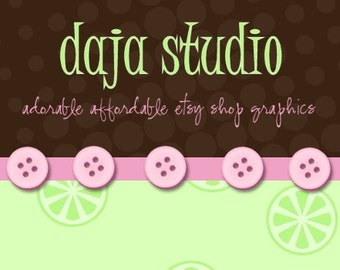 Premade Choco Lime Banner and Avatar Etsy Shop Set