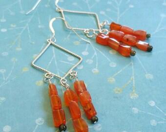 Orange Sterling Silver Diamond Dangle With Orange Carnelian Gemstones