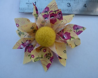 Yellow and Pink Flower Broach