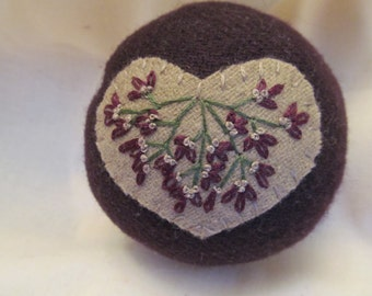 Rich Plum Wool Pincushion with Tan Heart ,Sewing Tool,Sewing Aid,Sewing Box Addition, Beautiful Pincushion,Embroidered Pincushion for All