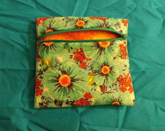 Turquoise and orange floral bag
