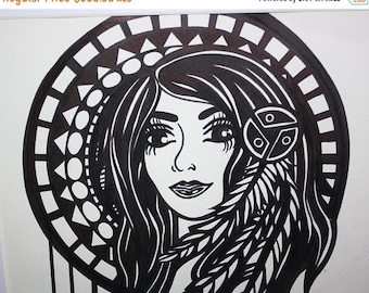 Framed Black and White Original Art Drawing Woman Feathers Circle Illustration Design