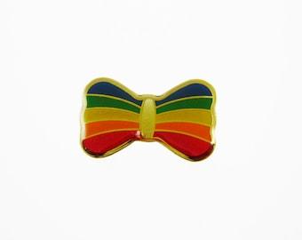 Rainbow Pin - Vintage Rainbow Bow Brooch