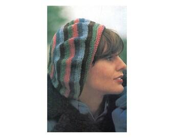 Striped Beret - Crochet Pattern - Multi-color rainbow tam beanie