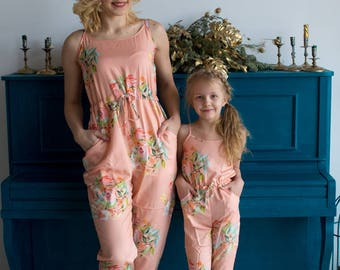 Matching Jumpsuits Peach Dreamy Angel Song Baby Mommy, Mom and Me Pajamas, Floral pattern, Twinning, Mommy baby matching, Mini me