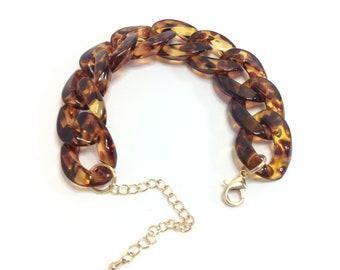 Tortoise Link Chain Bracelet/ Link Bracelet/ Chunk Tortoise Bracelet/ Tortoise Shell Bracelet/ Chain Bracelet