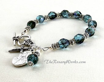 Mother of Sorrows Rosary Bracelet Chaplet Teal Blue Miraculous Medal Single Decade St Therese Sacred Heart Good Shepherd Holy Family Spirit