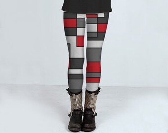 Colour block patterned leggings, handmade modern yoga pants available in blue, purple, orange, yellow and red with black white and grey