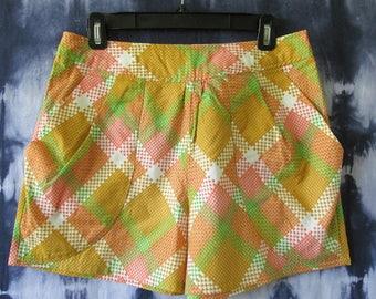 Orange Shorts - Plaid Shorts  - Women's Medium - Shorts - Handmade Shorts - Geometric Shorts - Shorts - One of a Kind