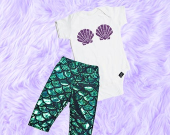 Baby Girl Mermaid Outfit, Baby Girl Clothes, Mermaid Baby Outfit, Mermaid Baby Shirt, Baby Girl Clothes, Baby Girl Mermaid Leggings