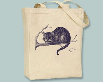 Alice In Wonderland Original Illustration of Cheshire Cat on Canvas Tote - Selection of sizes and ANY IMAGE COLOR available