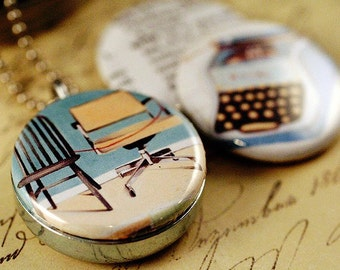 Typewriter Locket - Blogger Necklace, MicheleMaule Artwork, Writer Necklace, Magnetic, Recycled Upcycled Jewelry by Polarity
