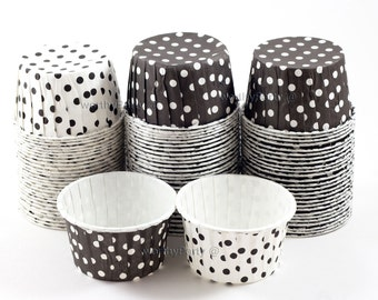 BLACK WHITE Polka Dots Candy Nut Portion Cups- Greaseproof Cupcake/Muffin Baking Cups (24 Count)