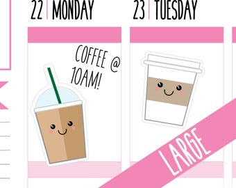 Coffee Planner Stickers, Iced Coffee, Frappuccino, Coffee Stickers, Takeaway Coffee, Large, Happy Planner Stickers, Erin Condren Stickers