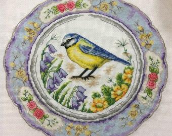 Blue Tit Bird Downloadable PDF Cross Stitch Pattern