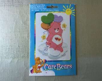 CARE BEARS Counted Cross Stitch Kit Love-A-Lot Bears Loves Balloons