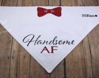Handsome AF V-Shirt. White cotton graphic over-the-collar bandana for dogs.
