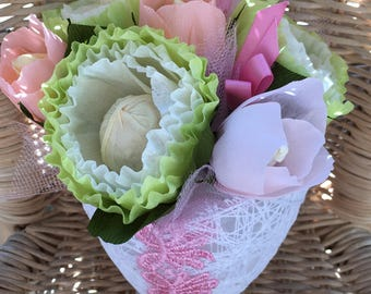 handmadebysusanna, crepe paper flowers, green flowers