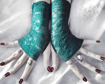 Water Wisp Lace Fingerless Gloves   Teal Turquoise Blue Green Floral   Gothic Vampire Lolita Wedding Fetish Dark Tribal Goth Gypsy Romantic