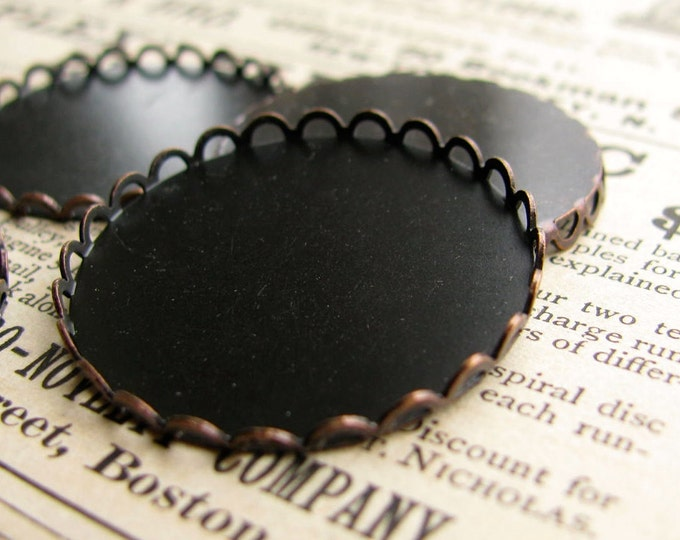 27mm Lace edge round bezel cup setting, black antiqued brass (4 scalloped trays) flat back setting, 27mm brass frame for cabochons