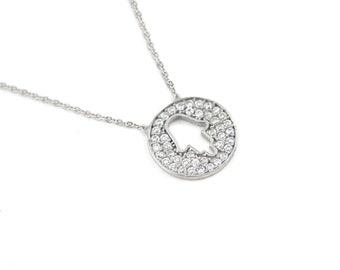 Free Domestic Shipping Sterling Silver White Cz Hamsa Necklace Circle, Round, Silver, Hand, Hamsa, Khamsa, Religious, CZ, Necklace, Gift