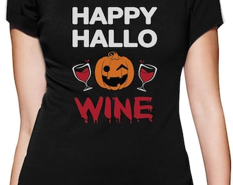 Happy Hallowine Pumpkin Halloween Wine Lovers Funny Women T-Shirt