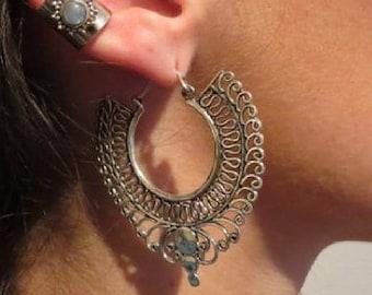 Hoop earrings, Silver Hoops, Decorated Indian Silver earrings, Ethnic earrings, Gypsy earrings, Indian earrings, Bohemian silver earrings