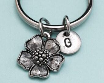 Flower keychain, flower charm, plant keychain, personalized keychain, initial keychain, customized keychain, monogram