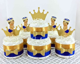 Royal Blue U0026 Gold Little Prince Diaper Cake Centerpiece Set, Boy Baby  Shower Decorations, Prince Themed Baby Shower Decorations