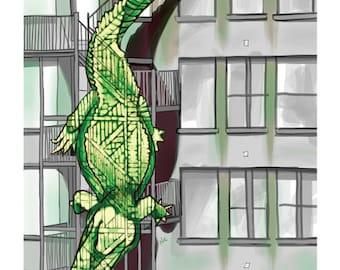 Alligator/Fire Escape -- The Animals Everywhere Series, Print, 8x10