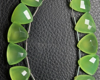 5 Matched Pair,Finest Quality,PREHNITE GREEN CHALCEDONY Faceted Trillion Shape Briolettes 14mm