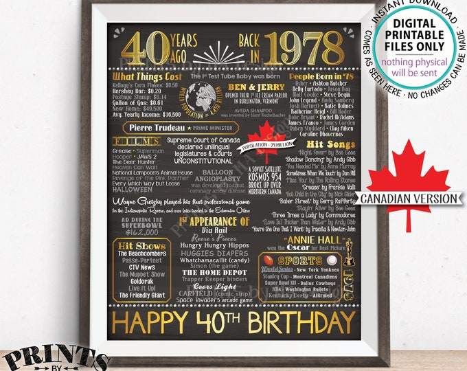 """40th Birthday Gift, Born in CANADA in 1978 Flashback 40 Years Back in 1978 Birthday, Gold, PRINTABLE 8x10/16x20"""" Chalkboard Style Sign <ID>"""