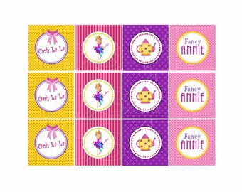 PRINTABLE Party Circles - Fancy Girl - Cupcake Toppers
