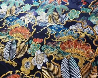 Black and golden borcade Japanese kimono fabric , floral brocade kimono fabric, Japanese obi fabric, wall decoration noren, quilt fabric