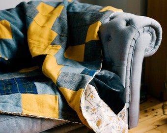 Harris Tweed British Made Patchwork Quilts Trimmed in Printed Cottons & Backed in Velvet