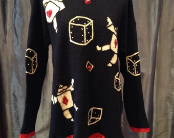 Crazy Card Suits and Dice Sweater Alice and Wonderland sz Lrg