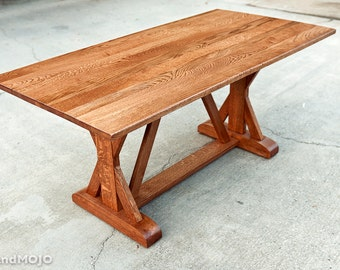 Trestle Dining Table Solid Wood Farm Table Farmhouse Dining Table Refrectory Table Abbott's Table Oak Dining Table