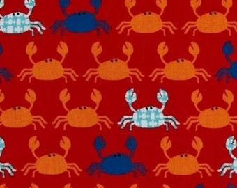 Patchwork fabric, red crab Kaufman fabric