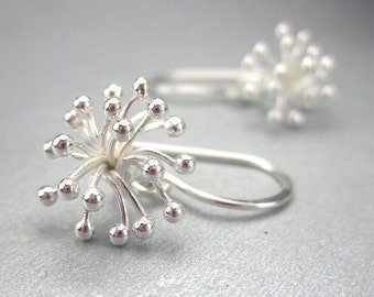 Sterling Silver Flower Earrings, Botanical Jewelry, Starburst Earrings, Seed Head, Organic