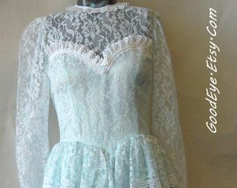 Vintage 90s Satin Lace Peplum Prom Dress / small 2 4 6 /GUNNE SAX Sheer Pastel Blue Prairie / McClintock