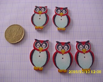 """set of 5 buttons red """"OWL"""" 3.2 X 2 cm"""