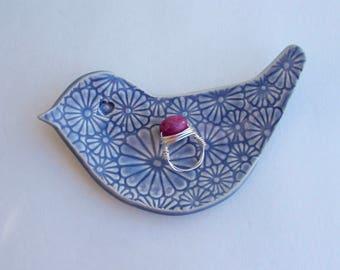 Valentine, Ceramic Hand Built  bird shape dish / Plate, Daisy Lavender