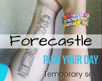 Temporary Set Schedule Tattoos - Pick Your Day - FORECASTLE